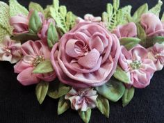 I ❤ ribbonwork . . . Ribbon Flowers close up ~by lambsandivydesigns.com