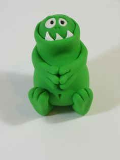 Green Tum-Tum Sitting Polymer Clay Monster One of a Kind