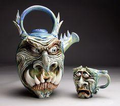 Grafton Pottery Face Jugs
