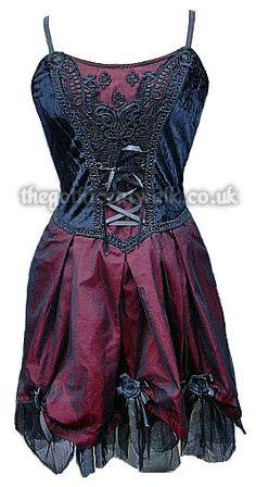 Black & Red Velvet & Silk Gothic Dress
