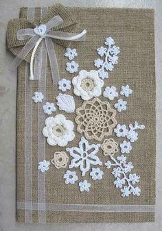 Crochet Flowers Wall art on Canvas Doilies Crafts, Burlap Crafts, Crochet Doilies, Crochet Flowers, Diy And Crafts, Lace Doilies, Crochet Motif, Free Doily Patterns, Crochet Patterns
