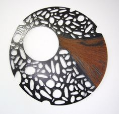 metal abstract wall art - LARGE metal sculpture - round  steel sculpture - indoor - outdoor metal wall art. $245.00, via Etsy.