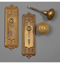 """Corbin """"Mantua"""" Wrought Brass Door Set, c1900 Check with customer service for available quantities."""