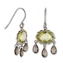 $192.50 CHANDELIER SEMI-PRECIOUS STONES  EARRINGS STERLING SILVER 925 ROUND GREEN QUARTZ 3 BRIOLETTE PEAR DANGLING SMOKEY QUARTZ STONES