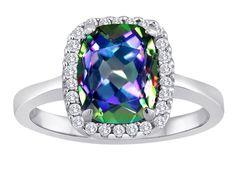 Star K Cushion Cut Rainbow Mystic Topaz Halo Ring