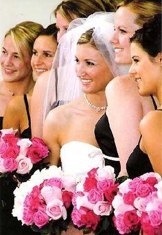hot pink and black wedding dresses