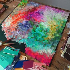 When I make art I get into a deep, meditative flow state. All other concerns melt away and I lose myself in the process. Diy Wall Art, Diy Art, Paper Wall Decor, Arts And Crafts, Paper Crafts, Diy Crafts, Atelier Theme, Paint Chip Art, Deco Design