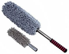 Ultimate Car Duster 2 Piece Car Cleaning Kit - Interior Duster & Exterior Duster - Lint Free, Black