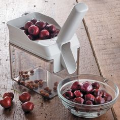 If you are seriously into canning, or just like making a pie the easy way, you need to check out Leifheit's Cherrymat. It can process up to 25 pounds of cherries per hour! With a non-skid pad the pitter will stay firmly on your countertop as you work, and a stainless steel spring loaded plunger removes the pits transferring them to the waste hopper, dropping your perfectly pitted cherry into a waiting bowl!