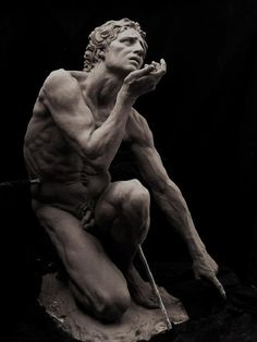 Adam in Clay by Cody Swanson/even though this is a modern sculpture it is done in the neo-classical style. that means done like the ancient greeks and romans. it shows movement spirit and is life like this what those ancients did.