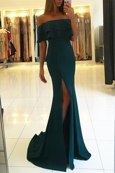 Teal Jersey Off Shoulder Slit Mermaid Evening Party Prom Dresses Prom Dresses, Evening Dresses Mermaid Prom Dresses 2019 Dark Green Prom Dresses, Split Prom Dresses, Prom Dresses 2018, Cheap Prom Dresses, Prom Party Dresses, Sexy Dresses, Party Gowns, Form Fitting Prom Dresses, Dark Teal Dress