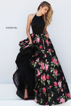 Allure Floral Printed Skirt Halter Neck Prom Party Dress of Sherri Hill 50333