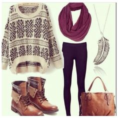 I love the brown fold down combat boots, infinity scarf and oversized sweater. Very cute hipster-esque outfit for fall or winter!!