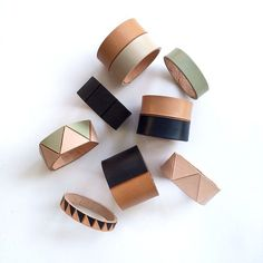 #LaurenManoogian's leather slip-on leather bracelets are handpainted and crafted in Brooklyn, NY.