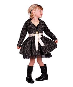 Loving this Black & Beige Lace Pleated Jacket - Toddler & Girls on #zulily! #zulilyfinds