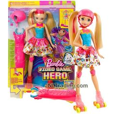 Mattel Year 2016 Barbie Video Game Hero Series 12 Inch Electronic Doll Set - BARBIE DTW17 with Light-Up Skates ,Helmet and Spinner
