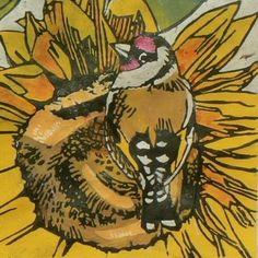 Goldfinches on Sunflowers linocut print by StripedPebble on Etsy. Printmaker- Jane Kendall