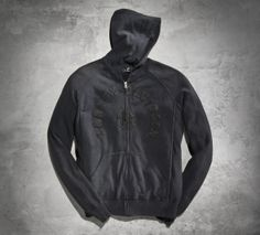 A custom wash technique creates that perfectly worn appearance. | Harley-Davidson Sweater Knit Skull Hoodie