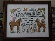 """This whimsical children's prayer is a delight to be seen on any child's nursery! Designed by Linda Gillum for Leisure Arts (C)1997.  The design area is 135W x 92H (Stitches). It is framed in a dark wood 8"""" x 10"""" (20.32 x 25.4 cm) frame with glass included. Pictures were taken without the glass to prevent glare and show detail. Shipping prices include insurance. https://www.etsy.com/listing/178857678/dear-father-completed-framed-cross?ref=shop_home_active_1"""