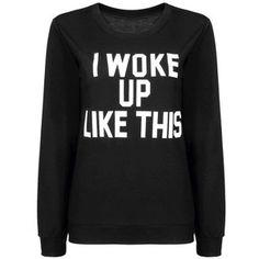Yoins Black Sweatshirt with White Letter Print