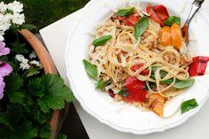 Köstliche vegetarische Pasta mit Walnüssen und gegrillter Paprika - Gaumenfreundin - Foodblog aus Köln
