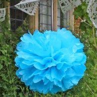 Turquoise Tissue Paper Pom Poms
