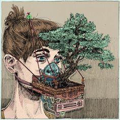 urban facemask gardening | artist: kit layfield Jacques Cousteau, Spiderman, Hi Fructose, Colossal Art, Lowbrow Art, Creative Advertising, Blackwork, Illustration Art, Images