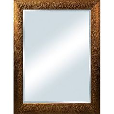 Columbia Frame 31x43-in Hammered Metal Copper Bevel Mirror