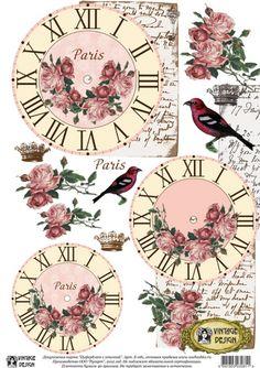 Papel Vintage, Vintage Cards, Diy Arts And Crafts, Paper Crafts, Clock Face Printable, Scrapbook Paper, Scrapbooking, Decoupage Printables, Clock Art