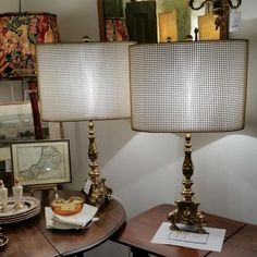 Vintage French brass torchiere lamps with rare brass mesh shades, c1920