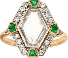 Diamond, Emerald, Platinum-Topped Gold Ring, Early 20th century.