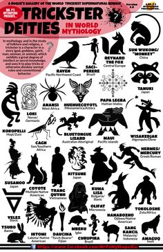 Trickster Deities in World Mythology Religion, Magical Creatures, Fantasy Creatures, Myths & Monsters, Sea Monsters, World Mythology, Roman Mythology, Greek Mythology, Legends And Myths