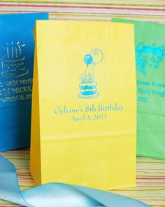 When you finish customizing these personalized birthday party goodie bags, they won't just be your favor bags-they'll be your favorite bags! Perfect for candy bars at your sweet sixteen or for stuffing small favors!