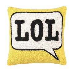 Hand-hooked wool throw pillow with a thought bubble motif.   Product: PillowConstruction Material: Wool C...