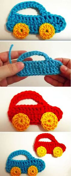 crochet applicates Welcome to . We would like to share with you an article about crocheting this super cute crochet car applique that is presented on the photos. The crochet appliqu Crochet Applique Patterns Free, Crochet Motifs, Baby Knitting Patterns, Applique Designs, Crochet Appliques, Crochet Stitches, Crochet Design, Crochet Car, Cute Crochet