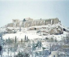 Snow in Athens Greece on Sunday 8 January 2017