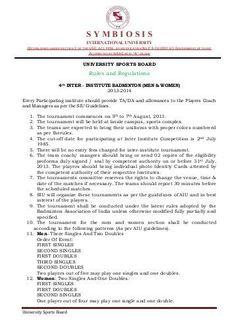 PE/IM BADMINTON RULES (SIMPLIFIED) Badminton Rules
