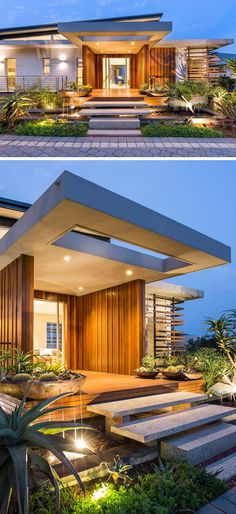 Very modern.uplighting, plants and a small pond welcome you to this home, while granite stairs that appear to be floating lead to the large front entrance of this modern home, that is adorned in timber cladding. Modern Entrance, House Entrance, Entrance Ideas, Entrance Decor, Entrance Design, Modern Entry, Exterior Stairs, Exterior Cladding, Exterior Windows