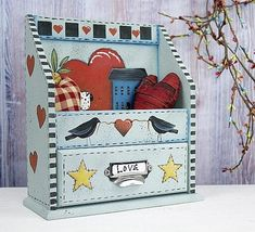 Folk Art Heart Shelf -- This little shelf is great for any room of your home.  #decoartprojects