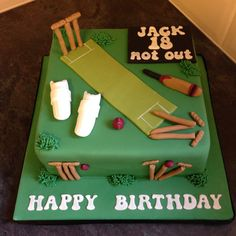 Cricket cake Cricket Birthday Cake, Cricket Theme Cake, Sports Birthday Cakes, Cute Birthday Cakes, 40th Birthday Cards, Boy Birthday Parties, Male Birthday, Christian Cakes, Perfect Chocolate Cake