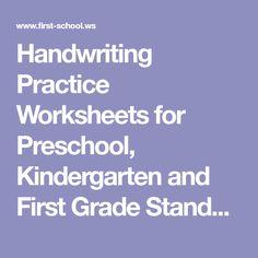 Handwriting Practice Worksheets for Preschool, Kindergarten and First Grade Standard Block Print