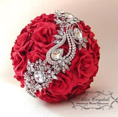 Brooch Bouquet red Bouquet by AliceCrystals on Etsy