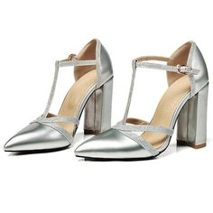 Pump Shoes, Shoes Heels, Silver Outfits, Silver Pumps, Party Shoes, Girls Wear, Toe Shape, Ankle Straps, T Strap