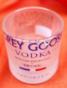 Grey Goose Rocks Glass Hand-Cut From One Liter Bottles - Cup Candle Holder Vodka France French Whisky Whiskey Wheat Distilled Distillery by DavesDoodads on Etsy