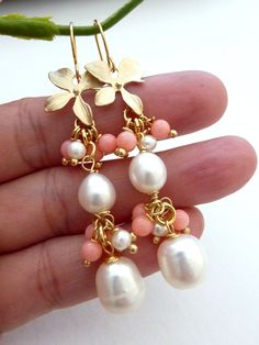 Big White Fresh Water Pearls, Salmon Pink Corals, Orchid Cluster Earrings. $42.00, via Etsy.