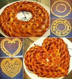 Time to Bake These Twisted Circle and Heart Shaped Breads Mais Bread Recipes, Cooking Recipes, Pan Relleno, Bread Shaping, Bread Art, Braided Bread, Bread And Pastries, Food Decoration, Artisan Bread