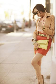 Carven tan leather jacket + peach blouse + orange skirt + Lanvin belt + yellow clutch + bow flats