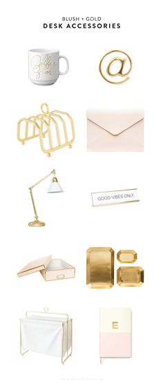 A roundup of modern blush and gold desk accessories. You just can't go wrong with simplicity and a touch of sparkle!