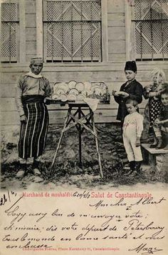 Street seller of muhallebi (a kind of sweet pastry). Istanbul, ca; Postcard by Ludwingsohn Frères. Pictures Of Turkeys, Old Pictures, Old Photos, Vintage Photos, Istanbul, Middle East Culture, Ottoman Turks, Street Vendor, Archaeological Discoveries
