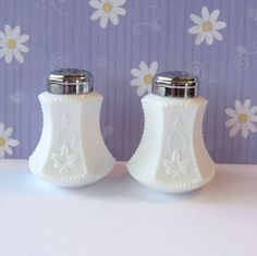 Milk Glass Salt and Pepper Shakers Leaf and by OldMothersCupboard